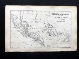 Cornwell & Dower 1849 Antique Map. Mexico, Guatemala and West Indies